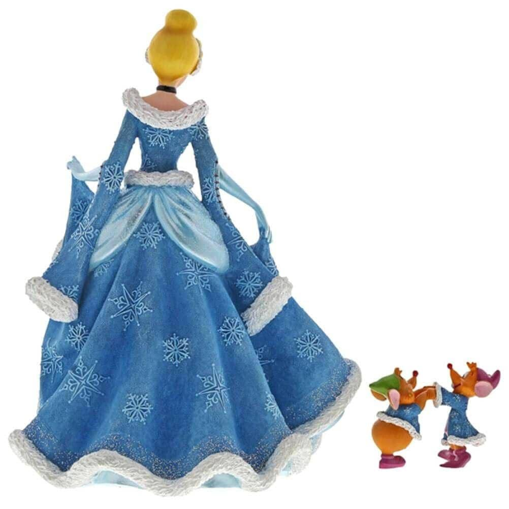 Back View of Disney Haute Couture Christmas Cinderella with Jaq and Gus Figurine