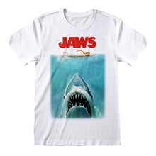 Load image into Gallery viewer, Men's Jaws Poster White Crew Neck T-Shirt