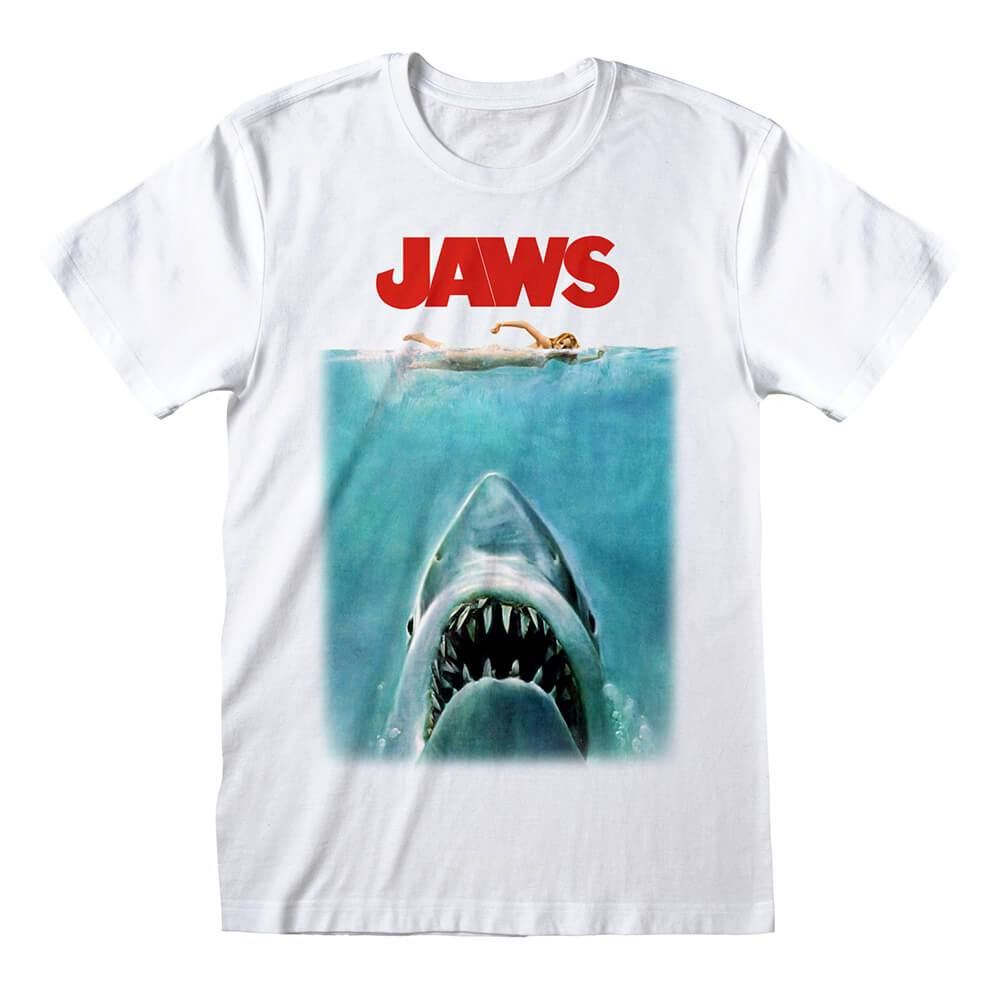 Men's Jaws Poster White Crew Neck T-Shirt