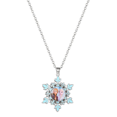 Disney Frozen 2 Elsa and Anna Snowflake Pendant Necklace