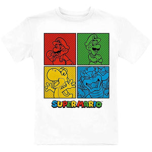 Children's Super Mario Squares White Crew Neck T-Shirt.
