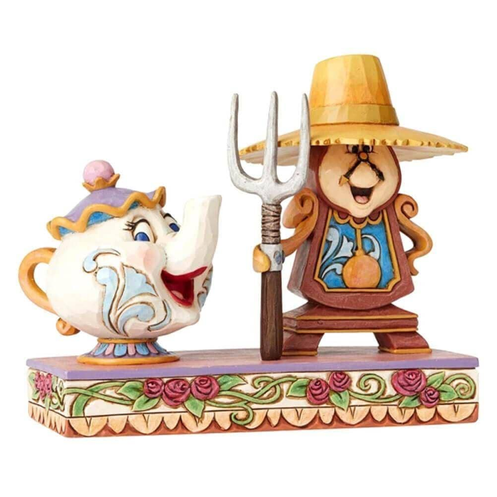 Front Side View of Disney Traditions Mrs Potts and Cogsworth Figurine