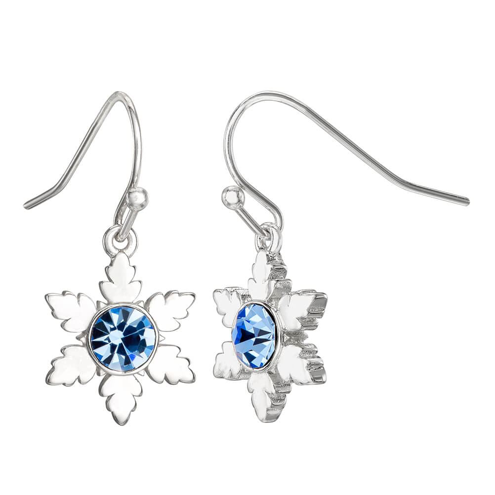 Disney Frozen Snowflake Silver Plated Drop Earrings