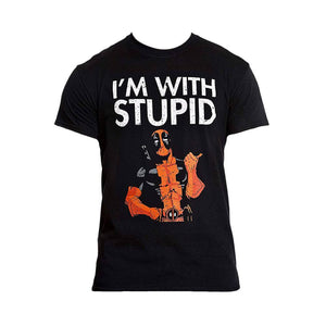 Men's Marvel Deadpool I'm With Stupid Black T-Shirt