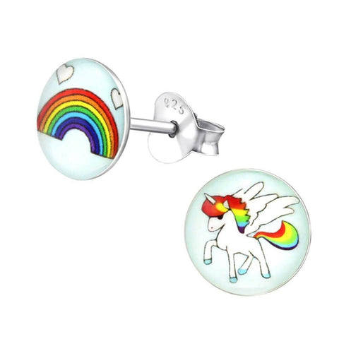Children's Sterling Silver Rainbow and Unicorn Stud Earrings