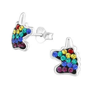 Children's Sterling Silver Rainbow Unicorn Stud Earrings with Swarovski Crystals