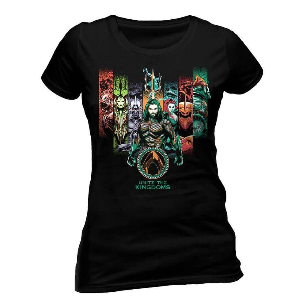Front View of Women's Aquaman Multi-Character Crew Neck Fitted Black T-Shirt