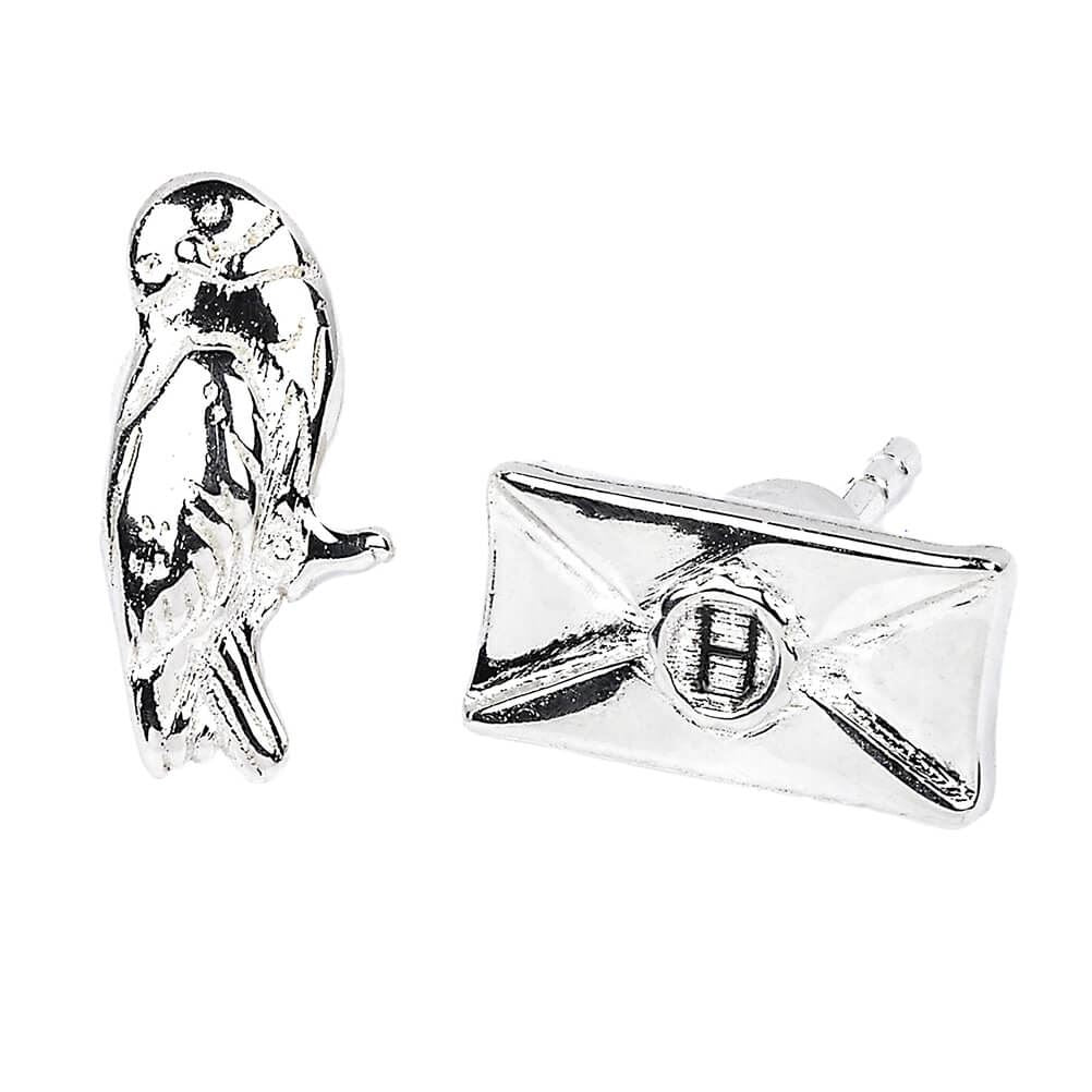 Harry Potter Hedwig and Acceptance Letter Silver Plated Stud Earrings