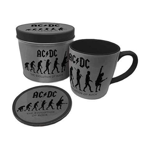 AC/DC The Evolution of Rock Mug and Coaster Set in Gift Tin.