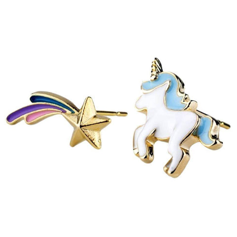 Enamel and Alloy Unicorn Princess and Star Stud Earrings