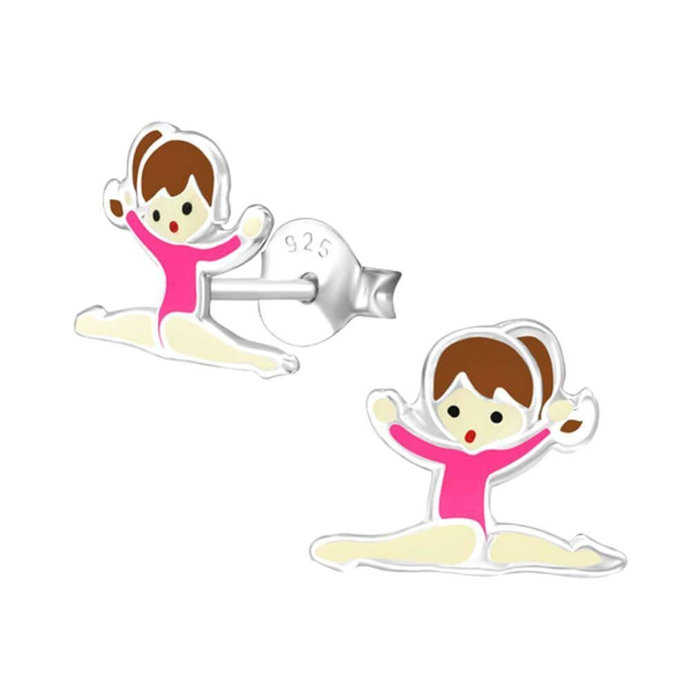 Children's Sterling Silver Gymnastics Stud Earrings