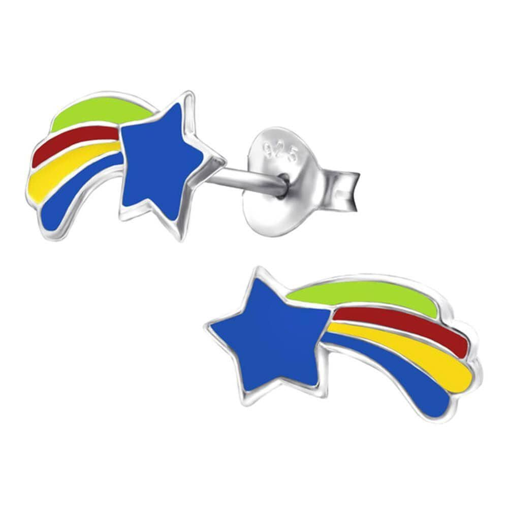 Children's Sterling Silver Shooting Star Stud Earrings
