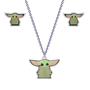 Star Wars The Mandalorian The Child Necklace and Earrings Set