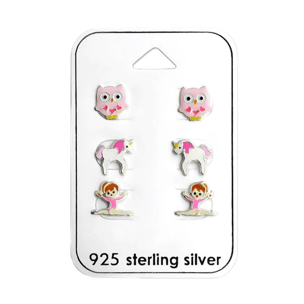Children's Owl, Gymnast and Unicorn Earrings Set