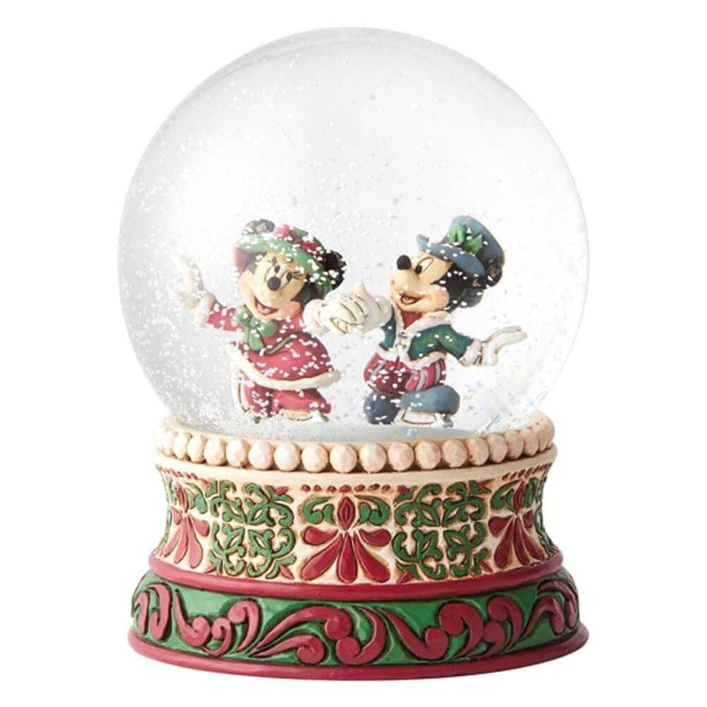Front design of the Mickey and Minnie Mouse Waterball/ Snow Globe, after being shaken