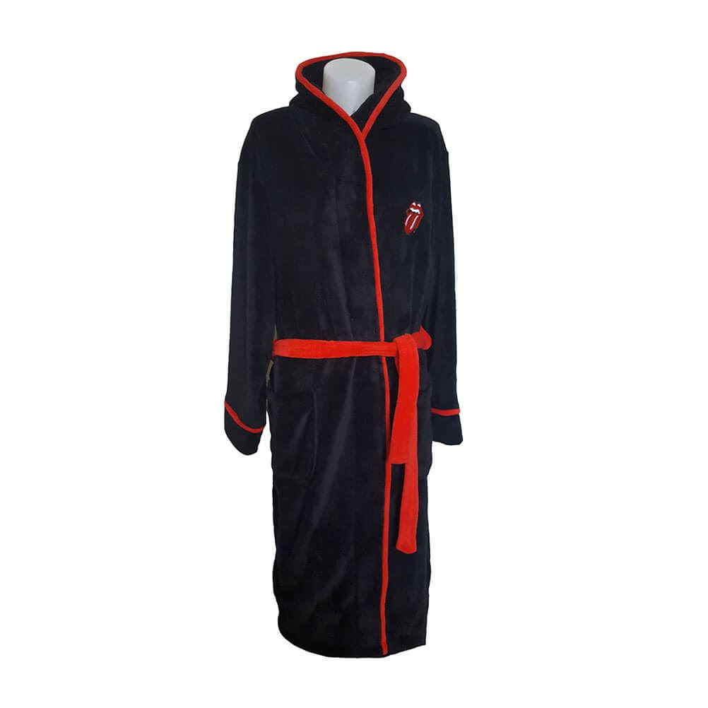 The Rolling Stones Classic Tongue Black Adult Fleece Dressing Gown.