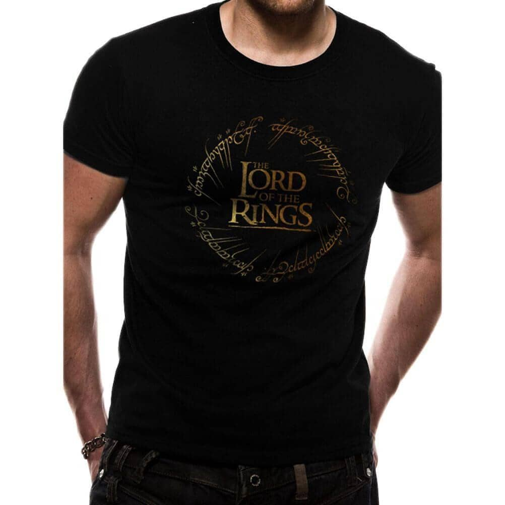 Male Model Wearing The Lord of the Rings Gold Foil Logo Black Crew Neck T-Shirt