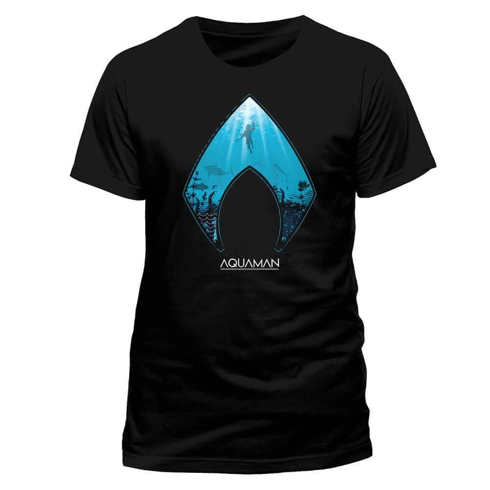 Front Design of Men's Black DC Comics Aquaman Emblem T-Shirt