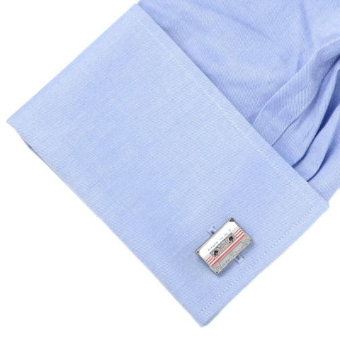 Blue Shirt Sleeve Cuff with our Guardians of the Galaxy Mix Tape Cufflinks