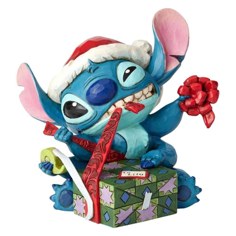 Disney Traditions Stitch with Santa Hat 'Bad Wrap' Figurine