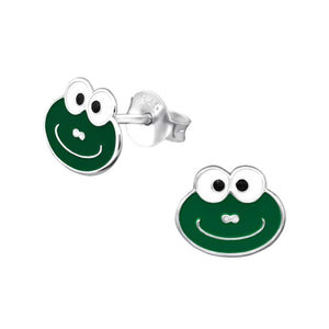 Children's Sterling Silver Smiley Frog Stud Earrings