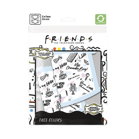 Friends Quotes Triple Layer Cotton Fabric Face Mask 2PK