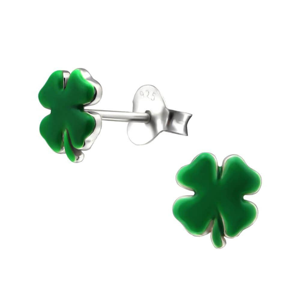 Children's Sterling Silver Four Leaf Clover Stud Earrings