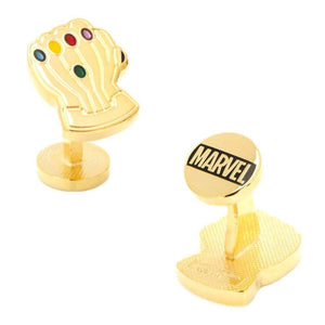 Top Gauntlet and Bottom Marvel Logo View of the Avengers Thanos Infinity Gauntlet Cufflinks