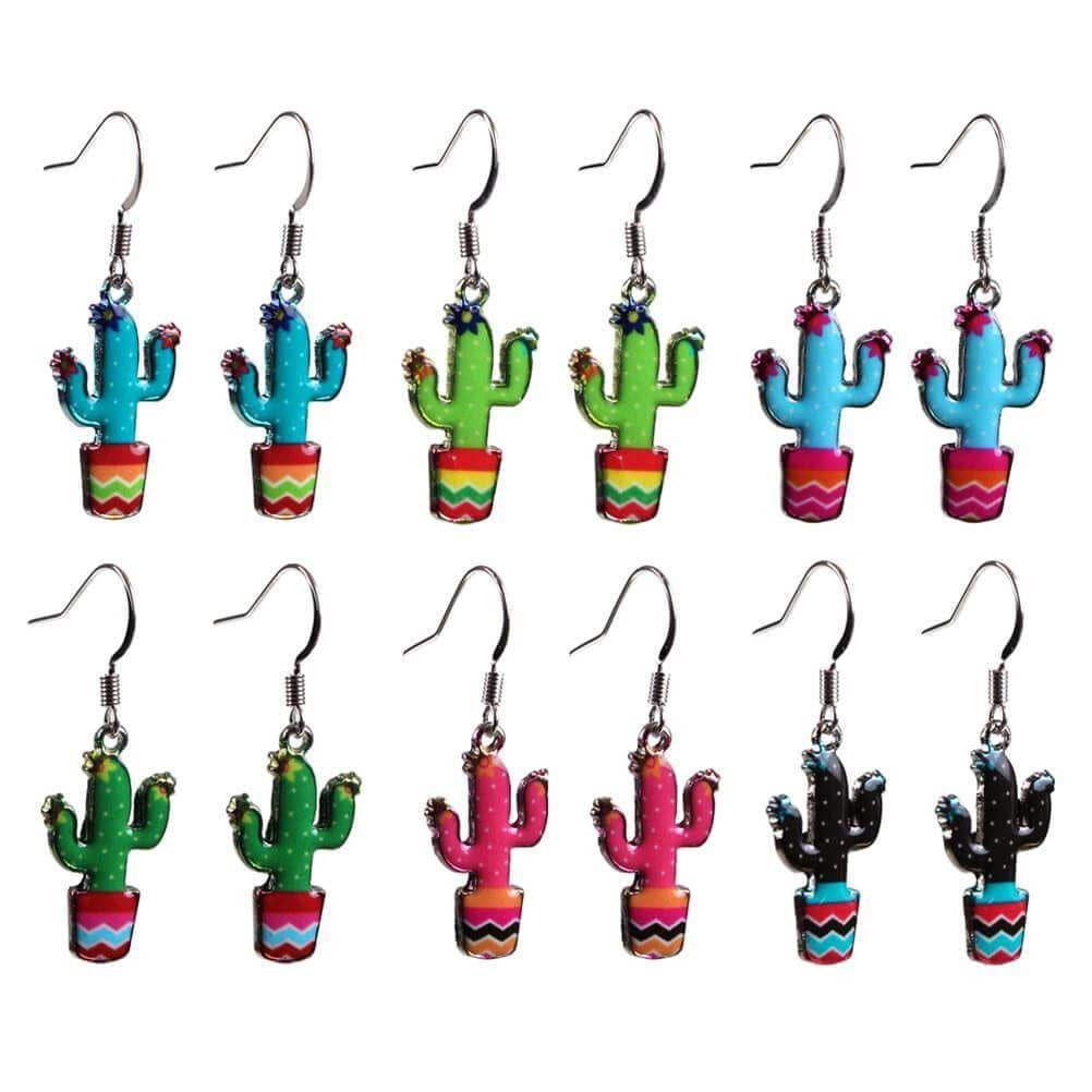 Cute Colourful Cactus Drop Earrings