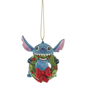 Disney Traditions Stitch with Wreath Hanging Ornament