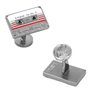 Front and Back Design of the Guardians of the Galaxy Awesome Mix Tape No. 2 Cufflinks