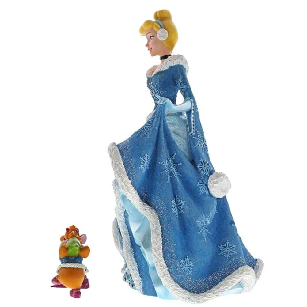 Side View of Disney Haute Couture Christmas Cinderella with Jaq and Gus Figurine