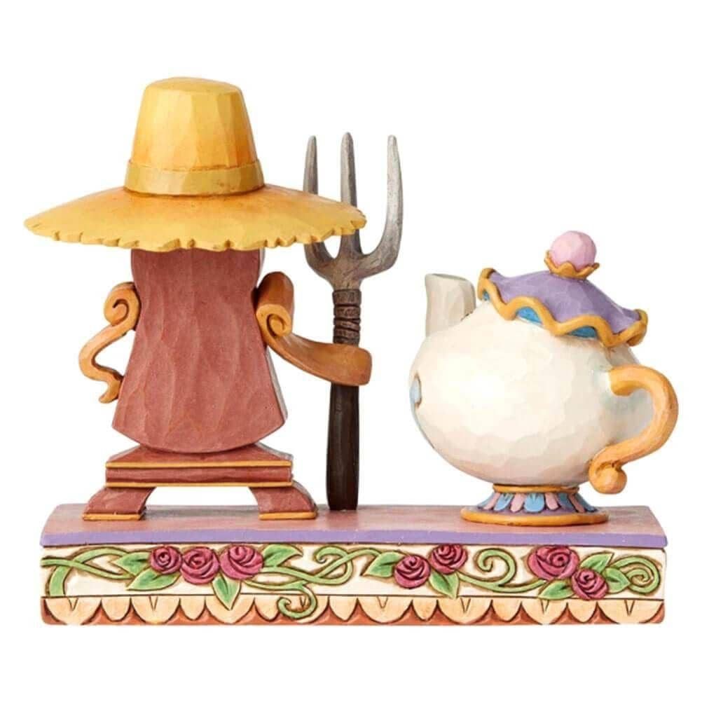 Back View of Disney Traditions Mrs Potts and Cogsworth Figurine