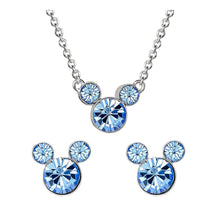 Load image into Gallery viewer, Disney Mickey Mouse Blue Stone Necklace and Earrings Set