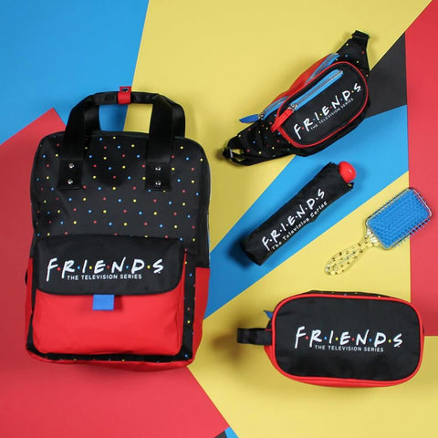 Friends Logo Polka Dot Black and Red Backpack