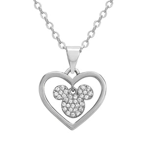 Mickey Mouse Silver Plated Stone Heart Pendant Necklace