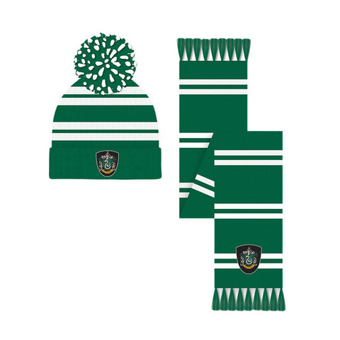 Harry Potter Slytherin Crest Bobble Hat and Scarf