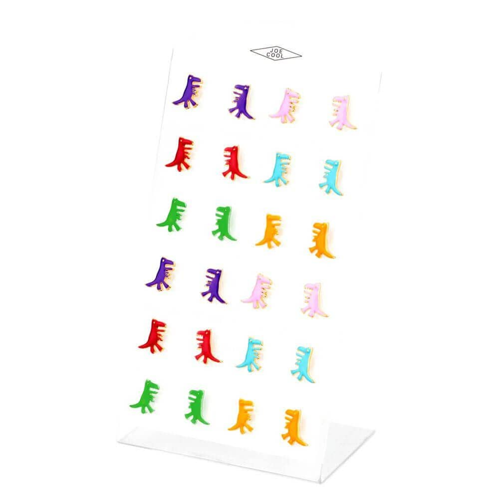 Collection of Children's T-Rex Stud Earrings in Various Colours