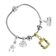 Load image into Gallery viewer, Friends Silver Plated Slider Charm Bracelet with Charms