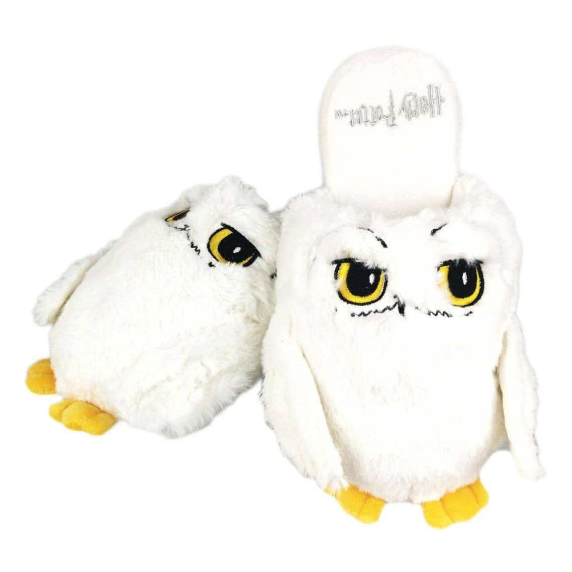 1 pair of ladies fluffy white Harry Potter Hedwig Owl Mule Slippers - One size