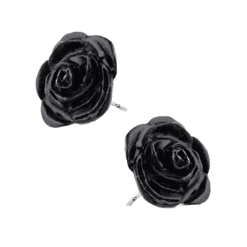 Alchemy Gothic Black Rose Pewter Stud Earrings