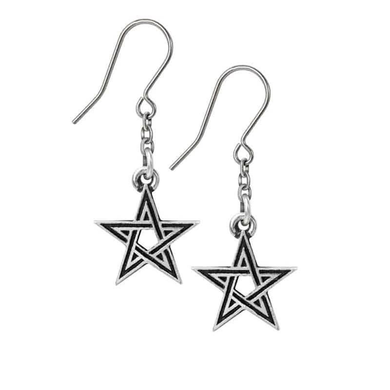 Alchemy Gothic Black Star Pewter Earrings