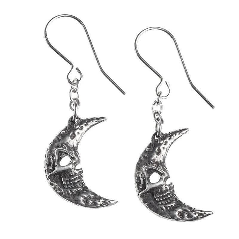 Alchemy Gothic Crescent Tragic Moon Dangle Pewter Earrings