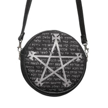 Load image into Gallery viewer, Black and Grey Alchemy Gothic Leather Magic Bag - Front View with Strap Extended