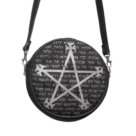Black and Grey Alchemy Gothic Leather Magic Bag - Front View with Strap Extended