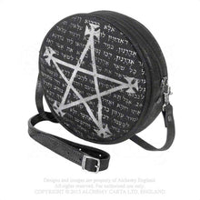 Load image into Gallery viewer, Black and Grey Alchemy Gothic Leather Magic Bag - Front Side View