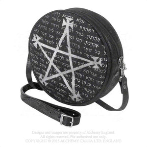 Black and Grey Alchemy Gothic Leather Magic Bag - Front Side View