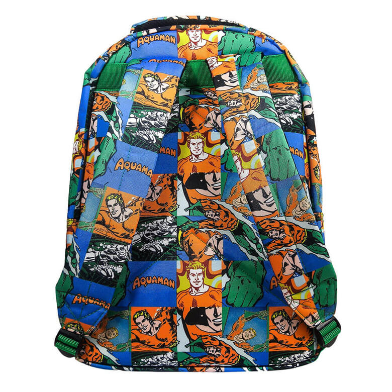 Multi-Coloured Retro Style Aquaman Sealife Comic Strip Backpack - Back View