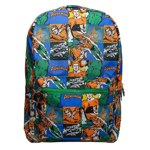 Multi-Coloured Retro Style Aquaman Sealife Comic Strip Backpack - Front View