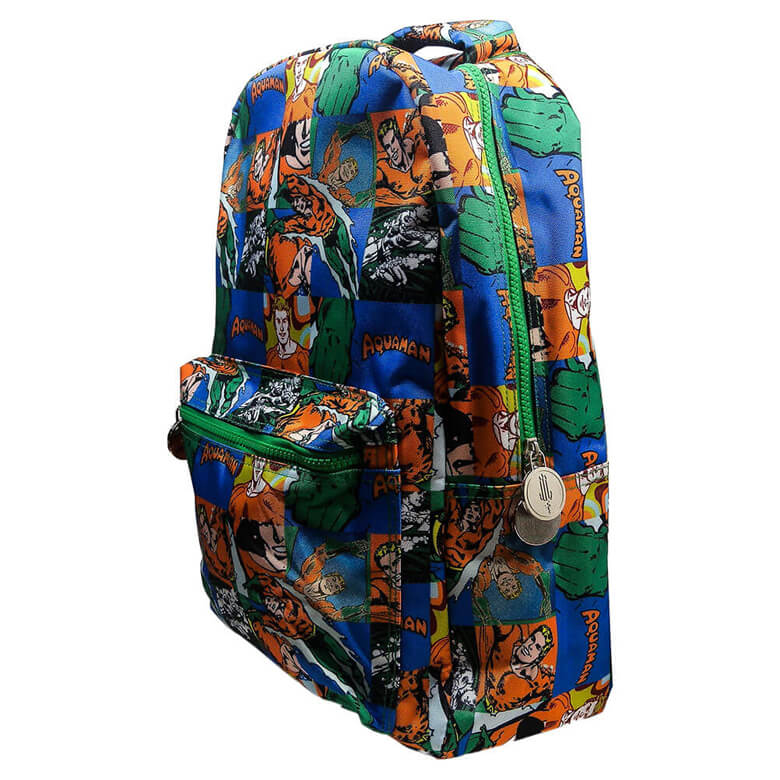 Multi-Coloured Retro Style Aquaman Sealife Comic Strip Backpack - Front Side View